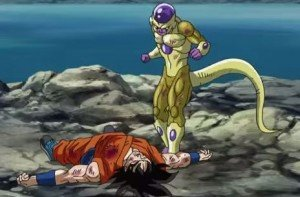 Freeza nearly achieving his revenge against Son Goku.