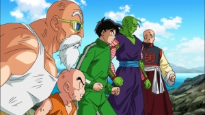 Five of the characters who fought against Freeza's forces.  From left to right: Kame-Sennin, Kuririn, Son Gohan, Piccolo, and Tenshinhan.