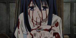 Neko Kuroha sacrificing her last tablet of medicine.