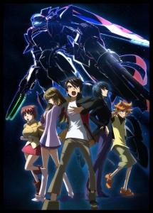 The main characters of Galactic Armored Fleet Majestic Prince. From left to right: Tamaki Irie, Kei Kugimiya, Izuru Hitachi, Toshikazu Asagi, and Ataru Suruga. Back: Red 5.