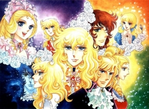 The main characters of The Rose of Versailles as the appear during different parts of the series.  Center: Oscar François de Jarjayes.  Top left: Marie Antoinette and Oscar.  Top right: André Grandier and Rosary Lamourliére.  Bottom Left: André and Oscar.  Bottom right: Marie Antoinette and Axel von Fersen the Younger.