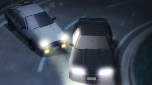 Takumi's drifting, left compared to Takeshi's grip cornering, right.