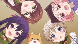 The characters of School-live!  From left to right: Kurumi Ebisuzawa, Yūri Wakasa, Tarōmaru, Yuki Takeya, and Miki Naoki.