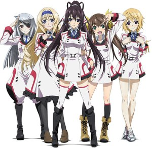 """The five heroines of Infinite Stratos.  From left to right: Laura Bodewig, Cecilia Alcott, Houki Shinonono, Huang """"Rin"""" Lingyin, and Charlotte Dunois."""