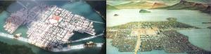 The urban design Kingdom of Piena, left, and the Aztec capitol Tenochtitlan, right.