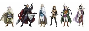The main characters of The Heroic Legend of Arslan.  From left to right: Arslan, Daryun, Narsus, Elam, Gieve, and Farangis.
