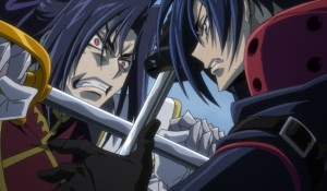 The climatic sword fight between Akito and Code Geass: Akito the Exiled To Beloved One.