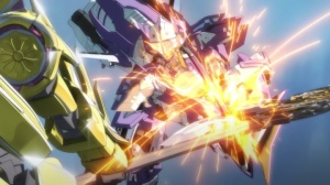 An example of the tight shots in Code Geass: Akito the Exiled To Beloved One.