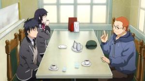 Buntarō, Sayuki Kuroda, and Hosokawa talking at a restaurant.